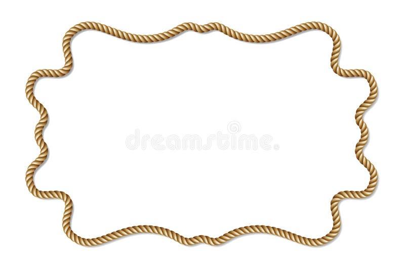 黄色绳索被编织的传染媒介边界,水平的传染媒介框架,隔绝在白色 皇族释放例证