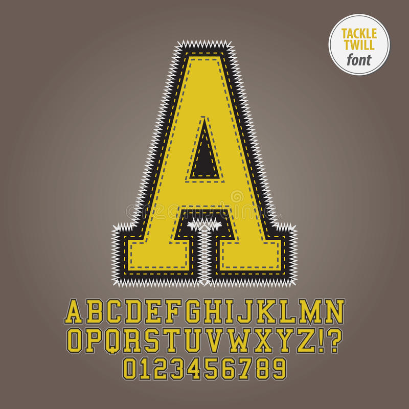 黄色滑车斜纹布字母表和数字传染媒介 库存例证