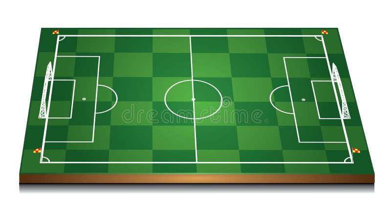 绿色3d足球场 库存例证