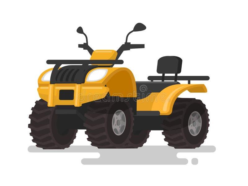黄色ATV 四轮耐震车 在iso的方形字体自行车 向量例证