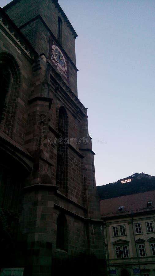 黑色brasov教会 免版税图库摄影