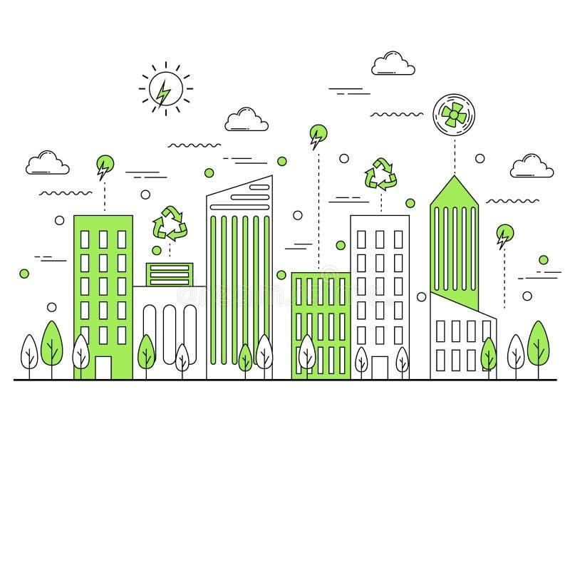 绿色eco友好的城市概念 皇族释放例证