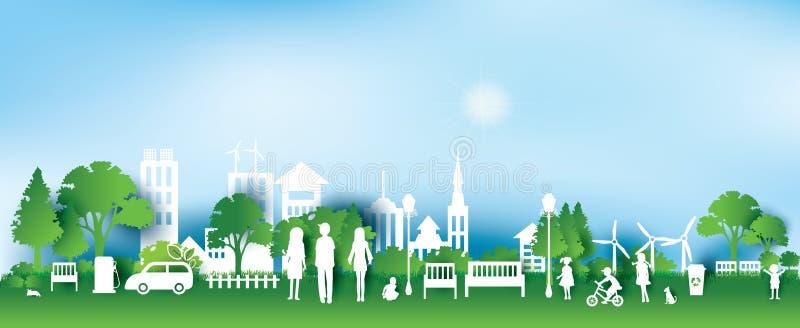 绿色eco城市和生活纸艺术样式,都市风景 向量例证