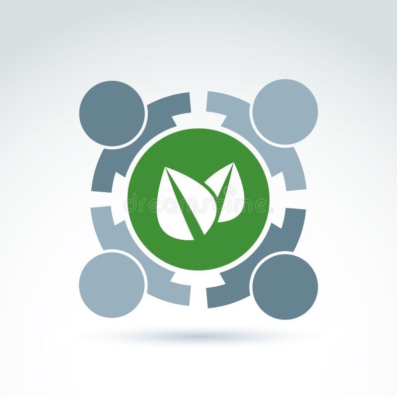 绿色eco概念性标志,生态协会标志,抽象 皇族释放例证