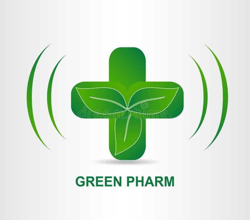 绿色eco药房医疗十字架 商标模板 库存例证