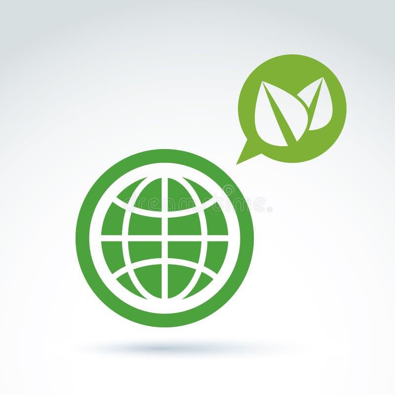 绿色eco行星概念性标志、地球和讲话起泡与 库存例证