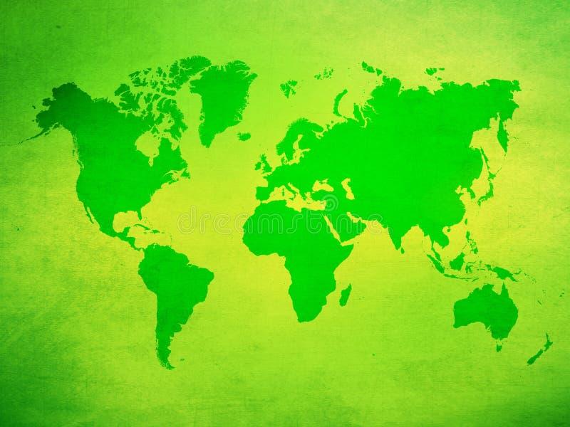 绿色grunge世界地图 库存例证