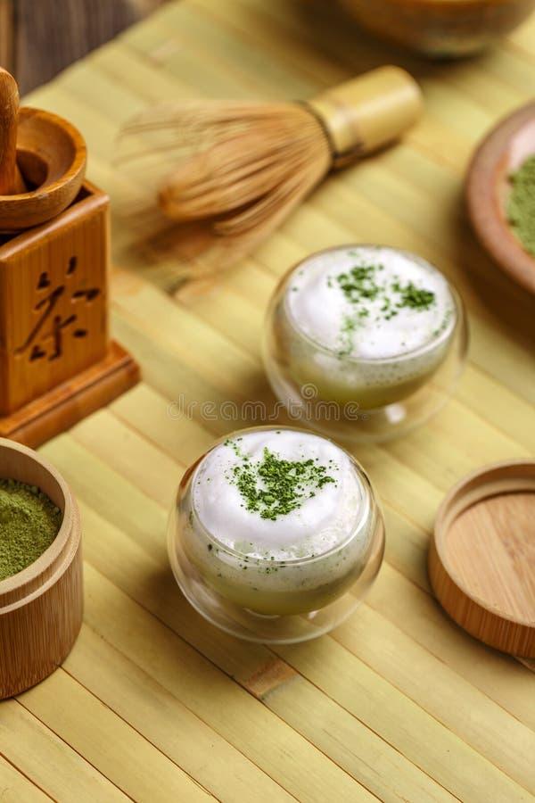 绿色latte matcha茶 库存图片