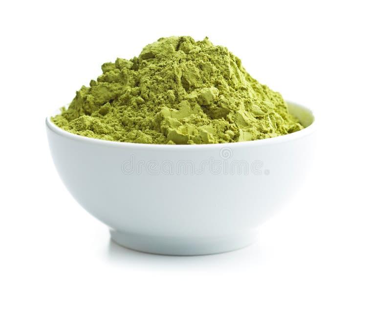 绿色matcha茶粉末 图库摄影