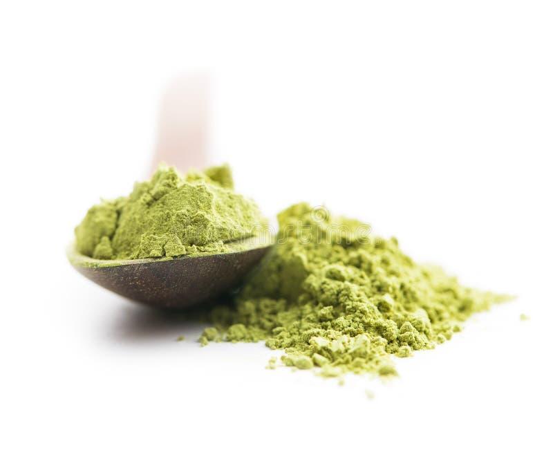 绿色matcha茶粉末 免版税库存图片