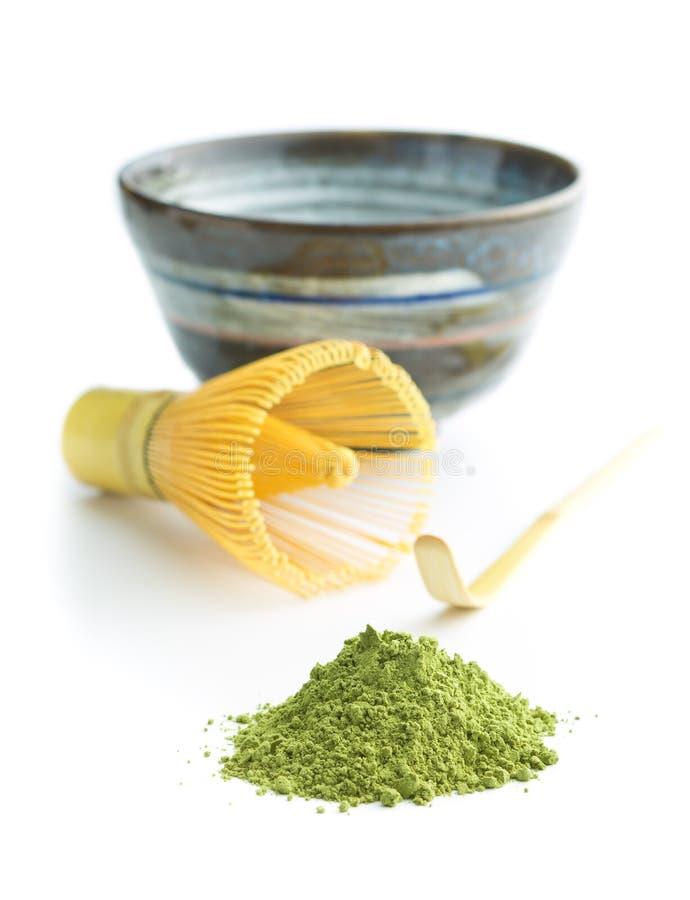 绿色matcha茶粉末 免版税库存照片
