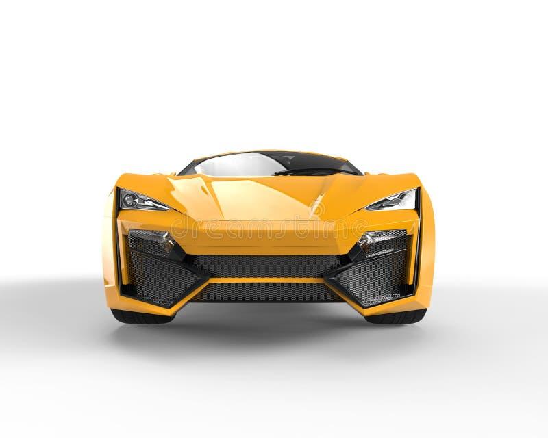 黄色sportscar -前面特写镜头 免版税库存照片