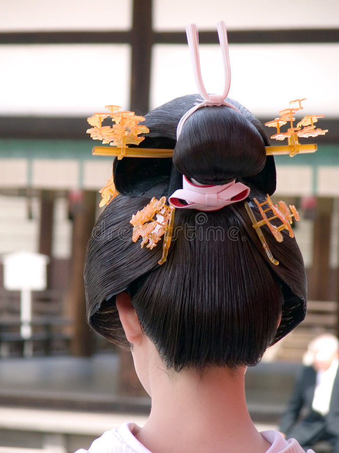 艺妓发型 图库摄影