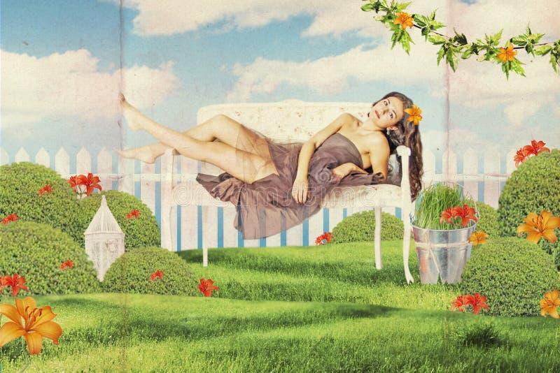 艺术与美丽的妇女的葡萄酒拼贴画 免版税库存图片