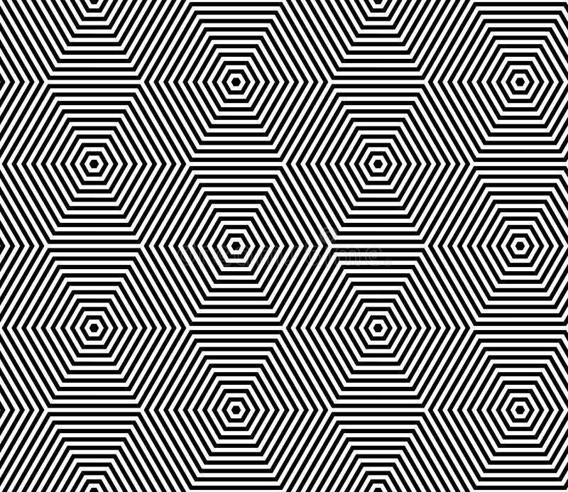 4 6艺术中的每一移动操作模式重复无缝的显示的瓦片 几何线纹理 库存例证