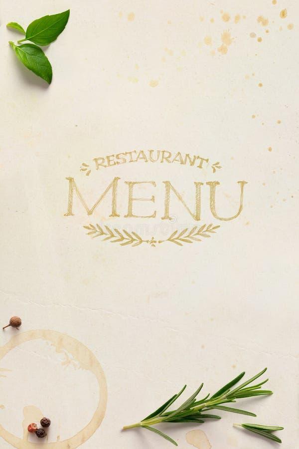 艺术传统意大利家庭餐馆菜单背景 免版税图库摄影