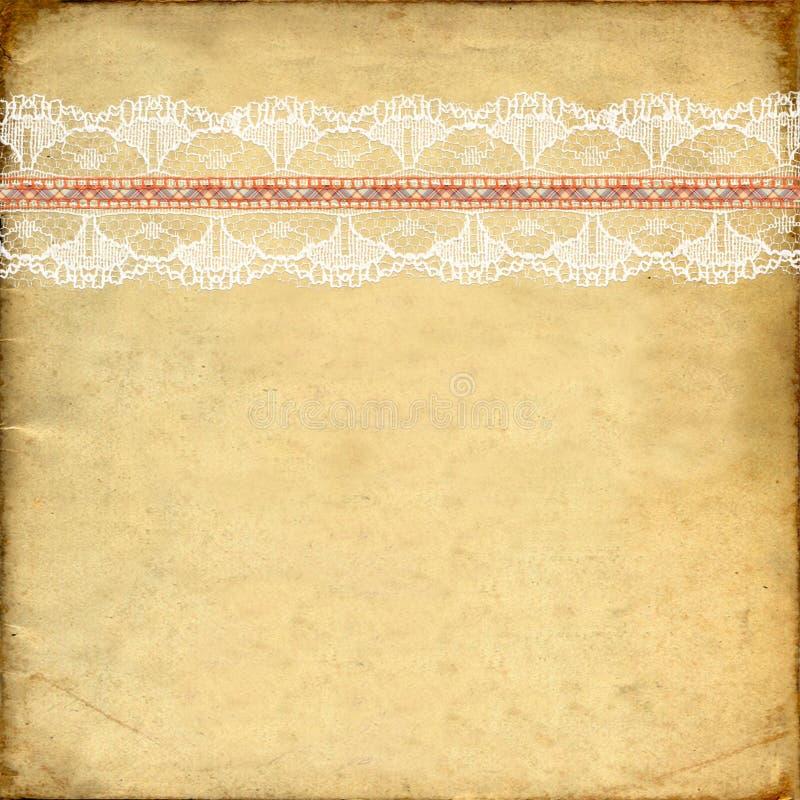艺术剪贴薄的老葡萄酒纸纹理与鞋带一起使用 向量例证