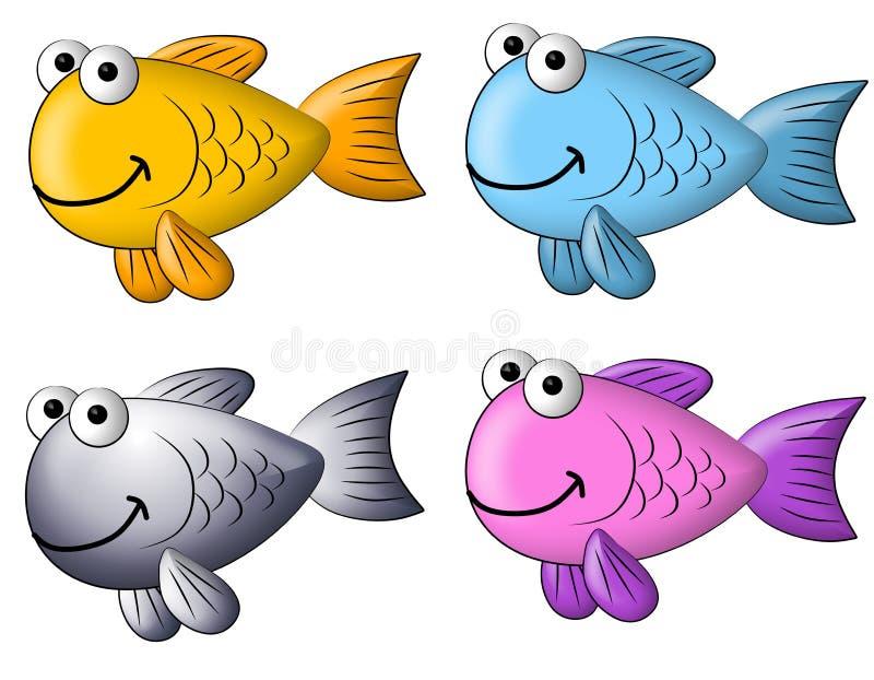 艺术动画片夹子五颜六色的鱼 皇族释放例证