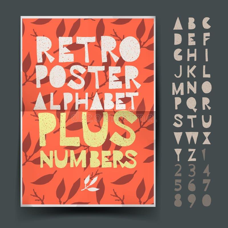 艺术和工艺海报的设计的减速火箭的字母表 向量例证