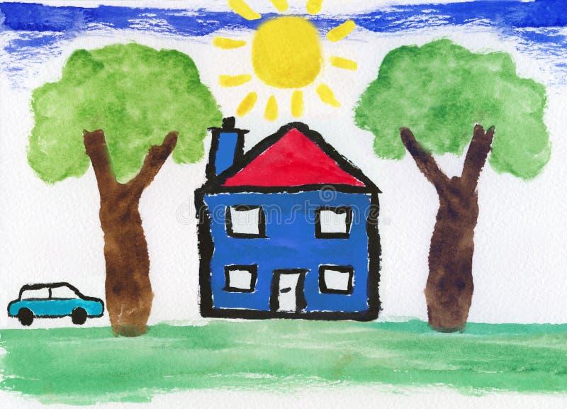 艺术品儿童的教育绘画 皇族释放例证