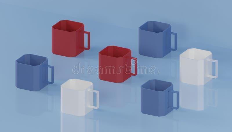 艺术品收藏3d回报在蓝色的立方体咖啡杯现代美术 向量例证