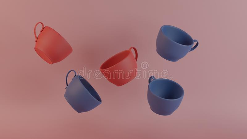 艺术品收藏3d回报立方体咖啡杯现代美术为装饰反重力样式 图库摄影