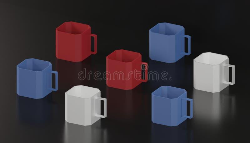 艺术品收藏3d回报红色蓝色白色立方体咖啡杯现代美术为装饰 皇族释放例证