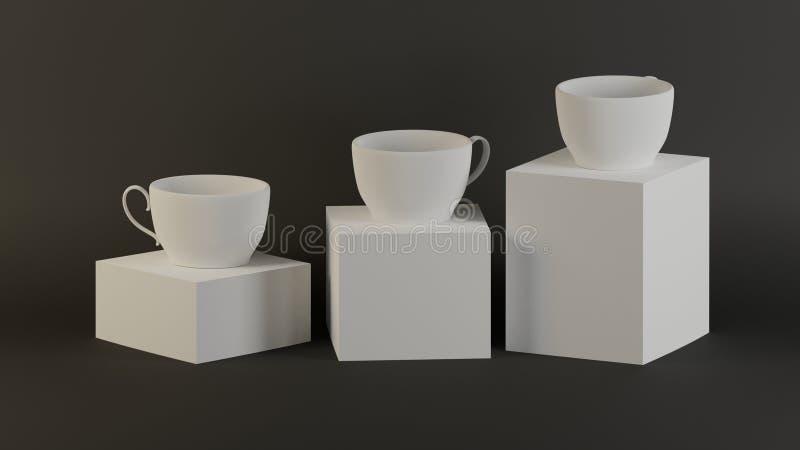 艺术品收藏3d在立方体箱子背景回报加奶咖啡杯子现代美术为装饰 库存例证