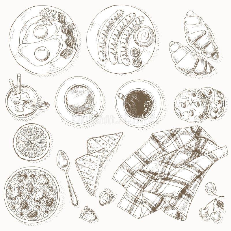 艺术品早餐编辑可能的梯度不分层堆积使用的集 向量例证