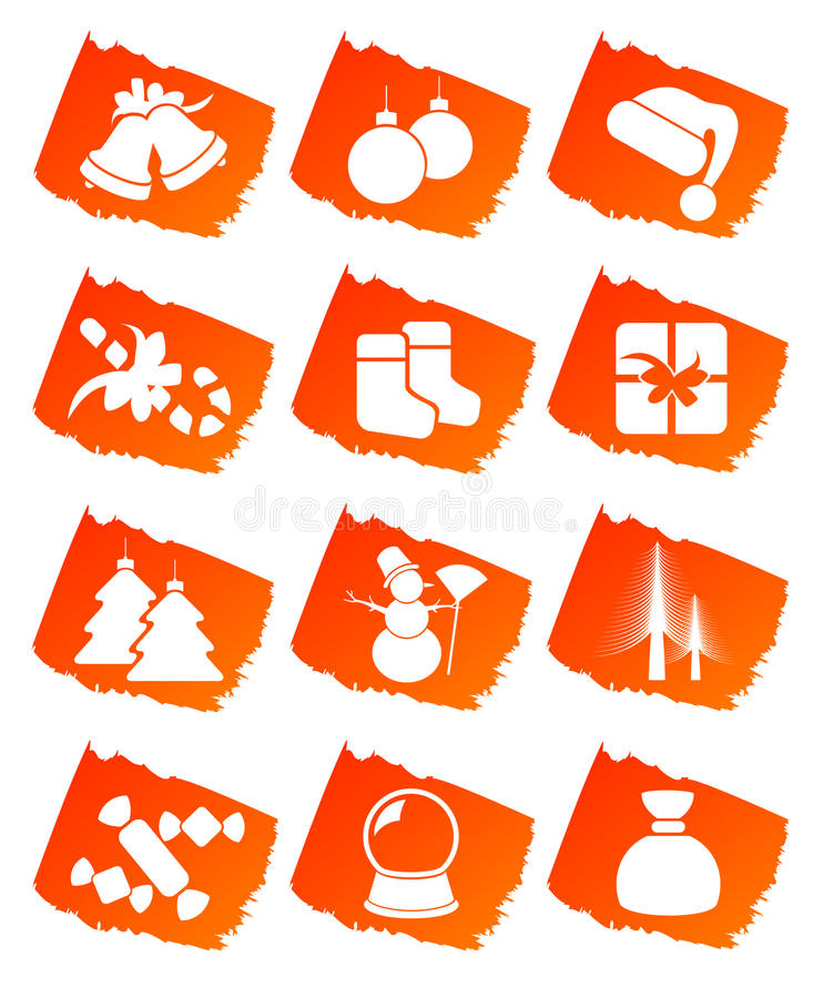 艺术圣诞节夹子图标 向量例证