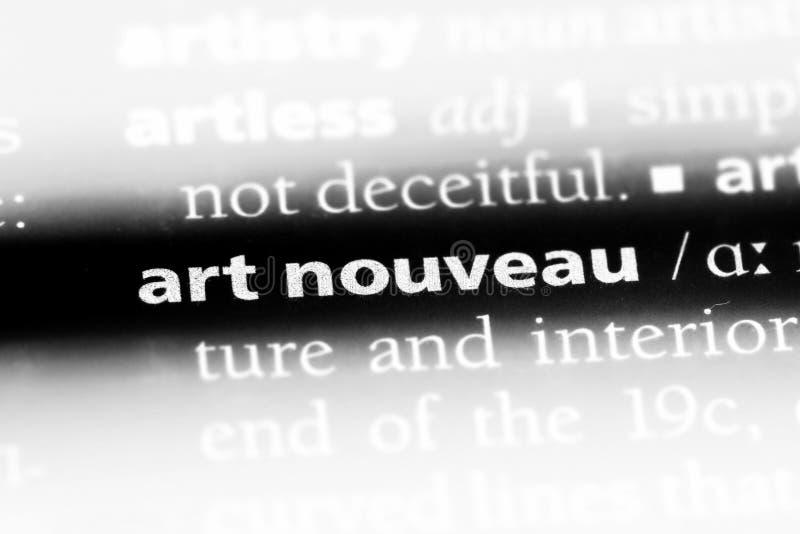 艺术在字典的nouveau词 艺术nouveau概念 库存图片