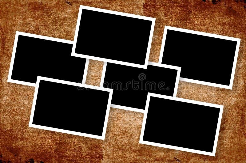 艺术在难看的东西褐色背景的照片框架 皇族释放例证