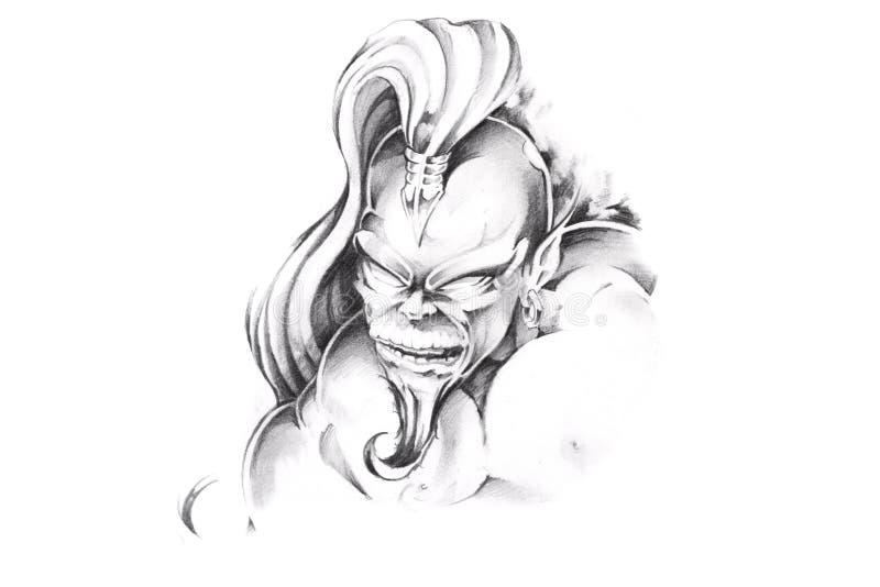 艺术天才草图纹身花刺 皇族释放例证