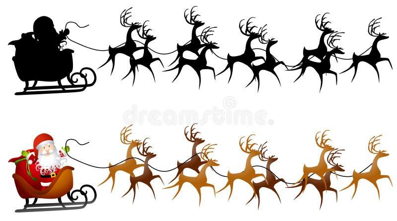 艺术夹子圣诞老人雪橇 向量例证