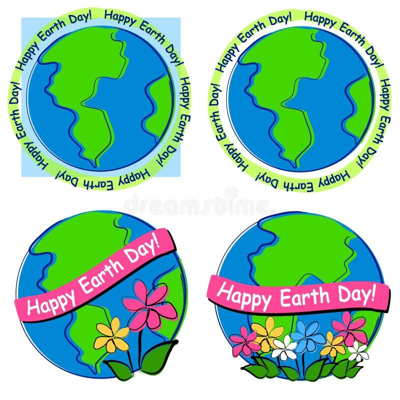 艺术夹子愉快日的地球 向量例证
