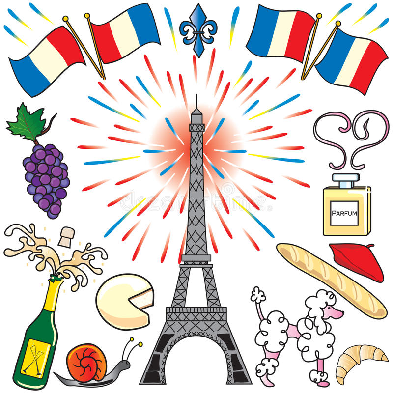 艺术夹子法国巴黎当事人 向量例证
