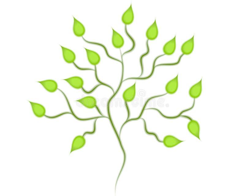 艺术夹子绿色查出的结构树 向量例证