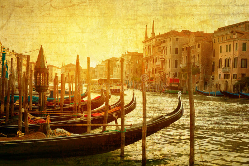 艺术威尼斯,意大利 在大运河的长平底船 免版税库存图片