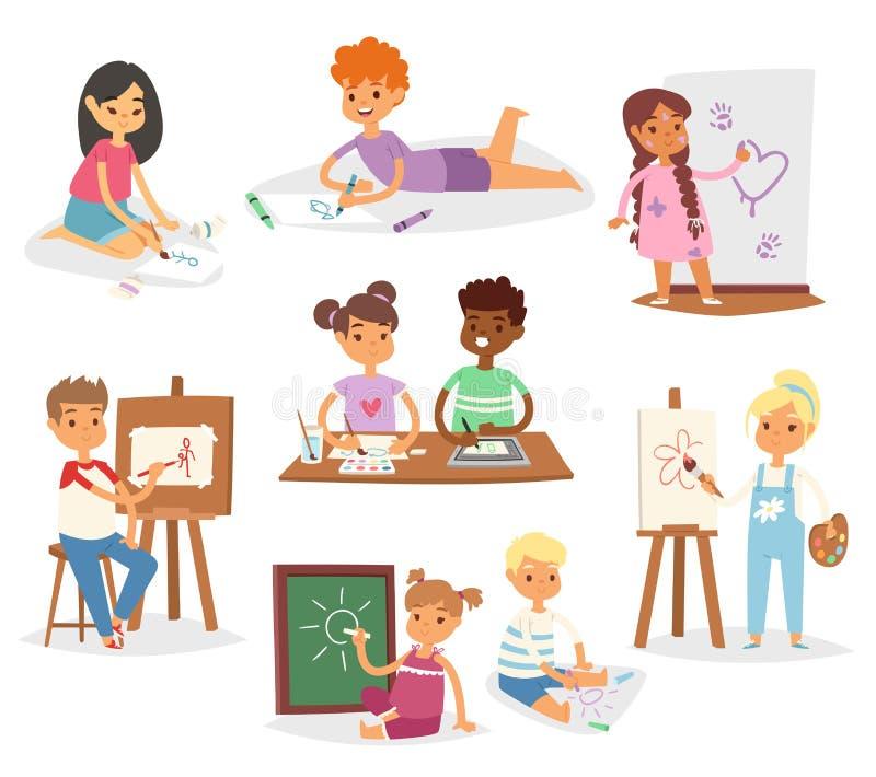 艺术家传染媒介绘使的孩子孩子艺术有刷子和油漆的创造性的年轻艺术家教育孩子设置了动画片 皇族释放例证