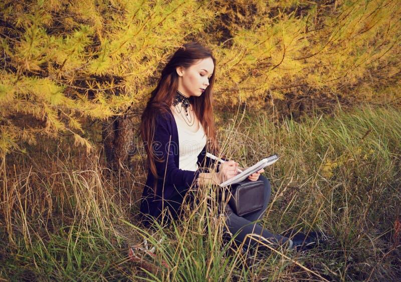 艺术家在一个写生簿画在秋天森林里 免版税图库摄影