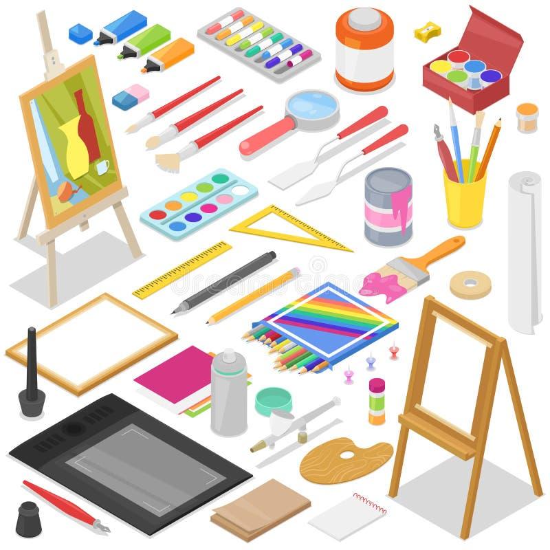 艺术家在艺术演播室用工具加工与油漆刷调色板和颜色油漆的传染媒介水彩在艺术品的帆布 皇族释放例证