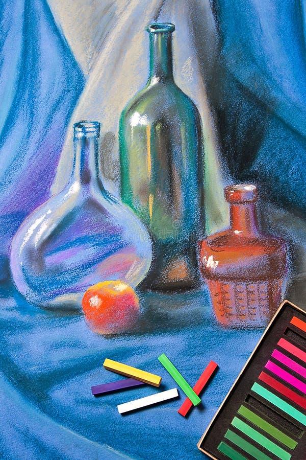 艺术家柔和的淡色彩和静物画原始的蜡笔画  库存例证