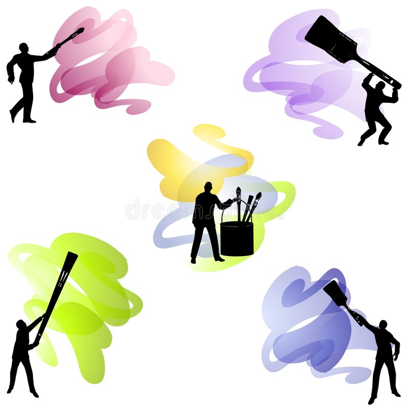 艺术家油漆刷 库存例证
