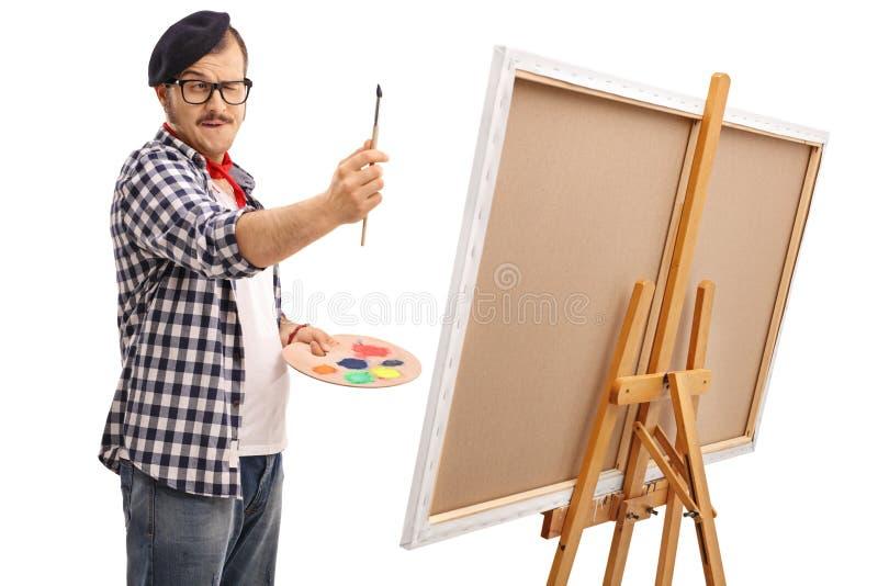 年轻艺术家测量的比例 库存照片