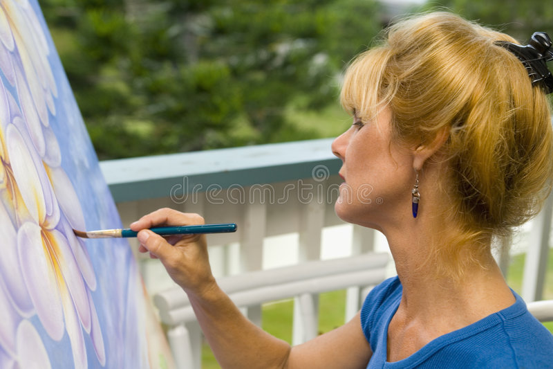 艺术家画布女性绘画 免版税库存照片