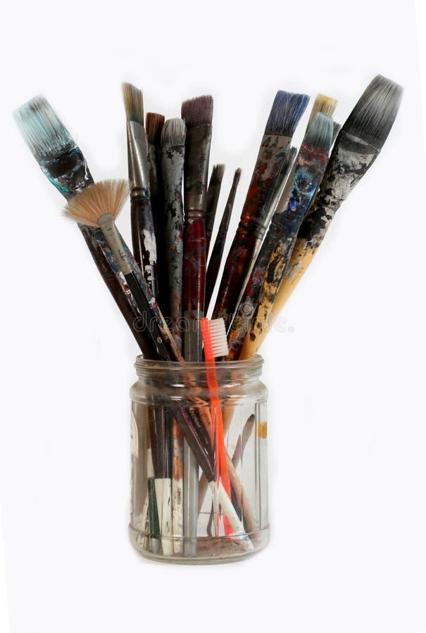 艺术家画笔刷牙 库存图片