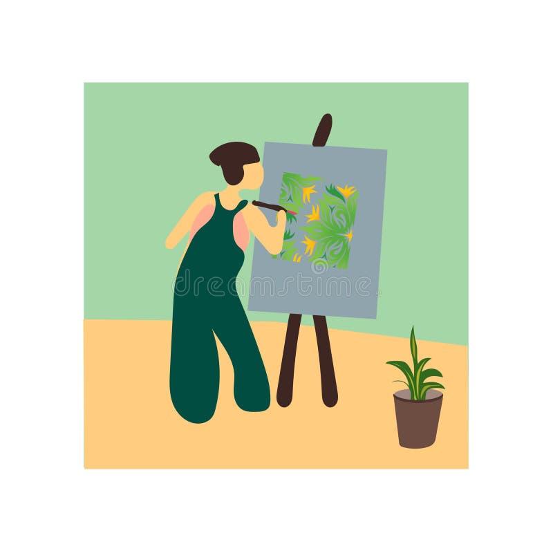 艺术家绘画传染媒介在白色背景和标志隔绝的传染媒介标志,艺术家绘画传染媒介商标概念 库存例证