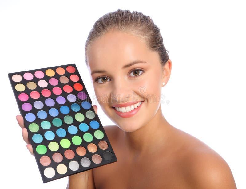 艺术家美丽的颜色眼影膏组成调色板 免版税库存照片