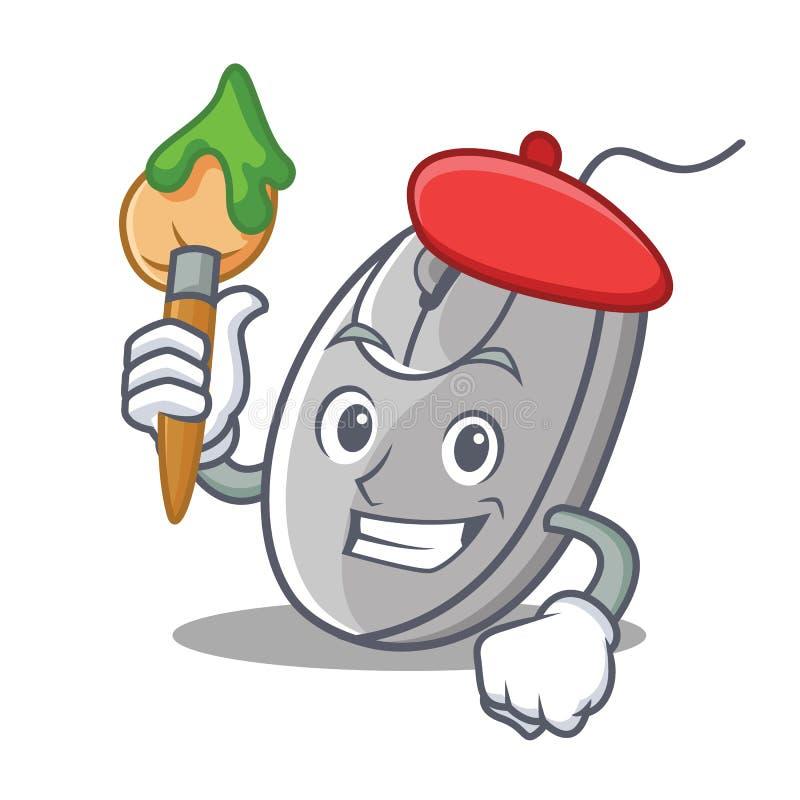 艺术家老鼠字符动画片样式 库存例证