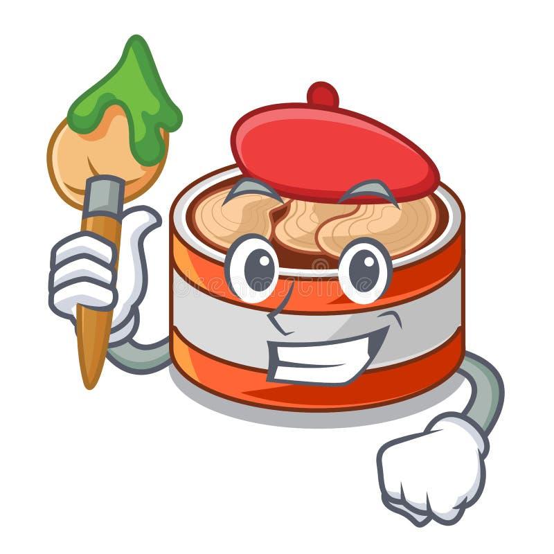 艺术家装金枪鱼于罐中隔绝与在吉祥人 皇族释放例证
